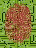 picture of fingerprint  - Vector Fingerprint pressed onto a Digital Circuit Board   - JPG