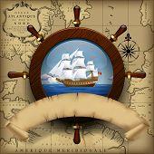 picture of ship steering wheel  - Steering wheel - JPG