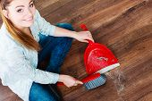 image of broom  - Cleanup housework concept - JPG