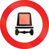picture of motor vehicles  - Austrian traffic sign prohibiting thoroughfare of motor vehicles subject to identification of dangerous goods - JPG