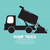 foto of dump-truck  - Dump Truck Carried And Unloading Loose Material Black Symbol Illustration - JPG