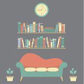 pic of sofa  - Flat Design Interior Vintage Sofa and Bookshelf Illustration - JPG