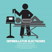 stock photo of defibrillator  - Defibrillator Electrodes Black Symbol Vector Illustration - JPG