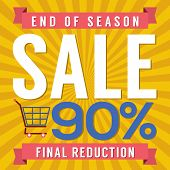 picture of year end sale  - Shopping Cart With 90 Percent End of Season Sale Illustration - JPG