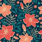 picture of hibiscus  - Vector vibrant tropical hibiscus flowers seamless pattern background graphic design - JPG