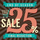 image of year end sale  - Shopping Cart With 25 Percent End of Season Sale Illustration - JPG