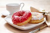 stock photo of confectioners  - Delicious doughnut with confectioner - JPG