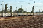 picture of train-wheel  - Railway tracks with freight train - JPG