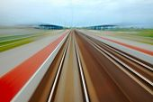 image of high-speed  - Railway tracks with high speed motion blur - JPG