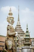 pic of demons  - White Demon Guardian at Wat Phra Kaew Temple of the Emerald Buddha Bangkok Thailand - JPG
