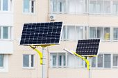 stock photo of solar battery  - a Street lamp powered by solar batteries - JPG