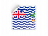 stock photo of indian flag  - Square sticker with flag of british indian ocean territory isolated on white - JPG