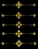 image of fleur de lis  - Clip art collection of different decorative gold fleur de lis page dividers  - JPG