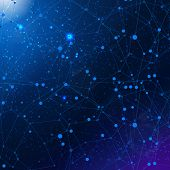 image of cosmic  - Vector abstract cosmic background with network map - JPG