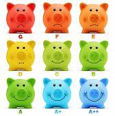 image of efficiencies  - scale class energy savings efficiency of colorful piggy bank - JPG