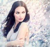 picture of romantic  - Spring fashion girl outdoor portrait in blooming trees - JPG