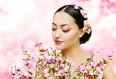 picture of japan girl  - Woman Flowers Bunch Pink Sakura Girl Makeup Beauty Portrait Asian Model Fashion Face Make - JPG