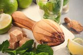 picture of juicer  - Wooden juicer and ingredients for making mojitos - JPG