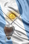 image of gaucho  - an Argentinean mate over an argentinean flag - JPG