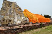 foto of recliner  - Wat Lokayasutharam is Temple of Reclining Buddha in Ayutthaya Thailand - JPG