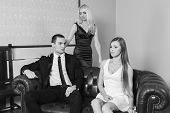 picture of threesome  - A guy and two girls in the room - JPG