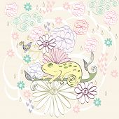 picture of chameleon  - Stylish floral background with cartoon chameleon in light colors - JPG