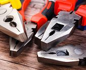 picture of pliers  - Close up Assorted Hand Work Tool Pliers  - JPG
