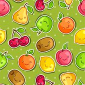 foto of kawaii  - Seamless pattern with cute kawaii smiling fruits stickers - JPG