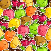 image of kawaii  - Seamless pattern with cute kawaii smiling fruits stickers - JPG