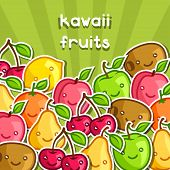 picture of kawaii  - Background with cute kawaii smiling fruits stickers - JPG