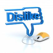 picture of dislike  - Thumbs down sign with dislike connected to computer mouse - JPG