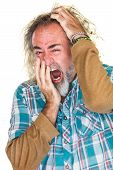 pic of scratching head  - European man in beard yawning and scratching head - JPG