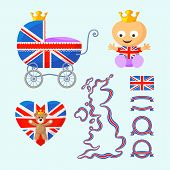 image of baby bear  - Set with English royal baby baby carriage teddy bear heart map flag and ribbons in the colors of the United Kingdom - JPG