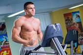 stock photo of treadmill  - Man in the gym - JPG