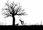 stock photo of tire swing  - silhouette graphic depicting a child playing on a tire swing - JPG