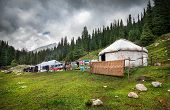 picture of nomads  - Urta nomadic house in the mountains of Kyrgyzstan Central Asia - JPG