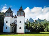 stock photo of french polynesia  - Island Morea French Polynesia view of the church - JPG