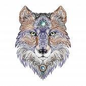 image of wolf-dog  - Tattoo head wolf wild beast of prey - JPG