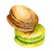 image of french pastry  - Two bright french pastries macaroons - JPG