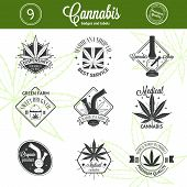 pic of bong  - Set of medical marijuana logos - JPG