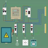 stock photo of electric socket  - Electrical circuit with an image of electric devices in flat - JPG