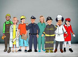 stock photo of cabin crew  - Children Kids Dream Jobs Diversity Occupations Concept - JPG
