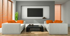 picture of jalousie  - Interior of the modern design room with orange jalousie 3D rendering  - JPG