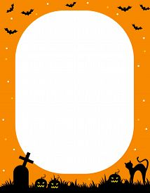 picture of empty tomb  - Illustration of orange and black halloween frame  - JPG