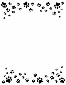 image of dog tracks  - Black and white dog paw prints top and bottom border  - JPG
