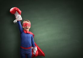 pic of boxing  - Superhero child winner with boxing gloves concept for winning - JPG