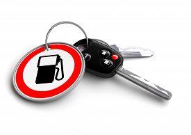 stock photo of petrol  - Car Keys with road sign key ring of petrol gas pump - JPG