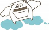 Smiling stove oven angel wings on cloud