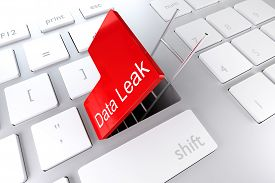 stock photo of underpass  - computer keyboard with red enter key hatch underpass ladder data leak - JPG