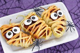 stock photo of halloween  - Stuffed peppers look like a mummies for Halloween - JPG